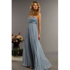 slate blue bridesmaid dresses | Strapless gown with Matte Satin bodice and belt. The full floor length ...