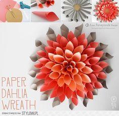 Decor / Paper Dahlia Wreath na Stylowi.pl