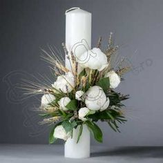 Candle Decorations, Flower Centerpieces, Wedding Stuff, Wedding Flowers, Flower Power, Candles, Weddings, Baby, Handmade