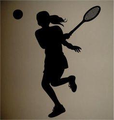 Girls Tennis Silhouette Room Wall Decor Decal   eBay