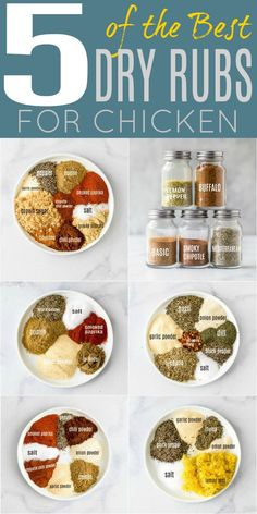 Transform your dinner recipes with five easy flavorful dry rub recipes that only take 5 minutes to make. These chicken spice rubs are absolute perfect to mix up flavors for the week and great for meal prep. Homemade Spice Blends, Homemade Spices, Homemade Seasonings, Homemade Dry Mixes, Best Dry Rub Recipe, Dry Rub Recipes, Salt Free Recipes, Bbq Rub Recipe, Chicken Marinade Recipes
