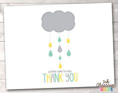 Printable Thank You Card Design - Yellow, Gray & Aqua Blue Shower Cloud from Ink Obsession Designs Printable Thank You Cards, Printable Planner Stickers, Printable Invitations, Printables, Invites, Thank You Card Design, Thank You Card Size, Aqua Blue, Yellow