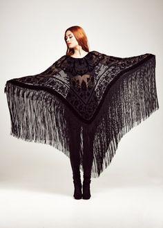 Black Velvet Fringe Maxi Kimono Poncho - The Vamp