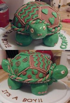 Baby Turtle Cake: Baby Turtle Cake  Materials Needed: *cake mix, any flavor *Wilton soccer ball pan *cake board and scissors *1 1/2c miniature marshmallows *3c Rice Krispies