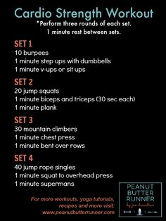 workout combining bodyweight cardio exercises with strength exercises.A workout combining bodyweight cardio exercises with strength exercises. Slim Waist Workout, Training Fitness, Weight Training, Workout Fitness, Strength Workout, Strength Training, Strength And Conditioning Workouts, Endurance Workout, Hiit
