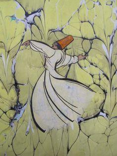 1 Ebru Art, Whirling Dervish, Turkish Art, Islamic Calligraphy, Islamic Art, Halloween Crafts, Persian, Mystic, Artsy