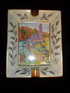 RARE Authentic Hermes France Ashtray Cigar Tray Scenic Landscape | eBay