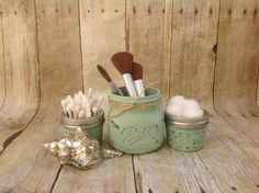 Mason Jar Bathroom Set. Painted Mason Ball Jars.  by CindiZsThings, $16.50