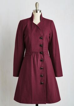 Outdoor Orchestra Coat in Berry by ModCloth - Red, Solid, Buttons, Long Sleeve, Fall, Woven, Better, 2, Special Occasion, 40s, Collared, Long, Pockets, Military, Vintage Inspired, Exclusives, Variation, Private Label