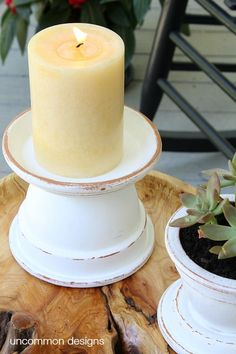 Create these amazing and beautiful outdoor terra cotta candle holders in 3 simple steps with pots! via www.uncommondesig… Create these amazing and beautiful outdoor terra cotta candle holders in 3 simple steps with pots! via www. Clay Flower Pots, Flower Pot Crafts, Clay Pot Crafts, Diy Clay, Diy And Crafts, Simple Crafts, Diy Candle Holders, Diy Candles, Pillar Candles