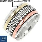 s8 (28925) TWO TONE SPINNING RINGS 925 STERLING SILVER RING SIZE 8  JEWELRY