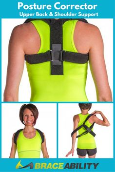 Looking to correct your posture? BraceAbility designed this upper back support based on your feedback so you can easily have better posture, less back pain, and improve spinal alignment. Shoulder Support Brace, Shoulder Brace, Better Posture, Good Posture, Fitness Tips, Fitness Motivation, Health And Wellness, Health Fitness, Health Care