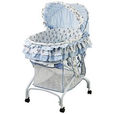 Dream on Me 2-in-1 Bassinet to Cradle, Light Blue