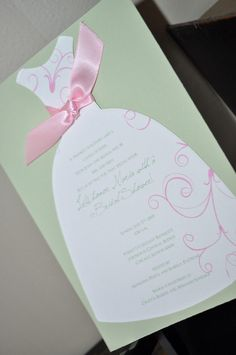 Bridal Shower Invitations: Dress Bridal Shower Invitation, can be done in black and pink
