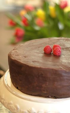 Chocolate cake with raspberry cream filling