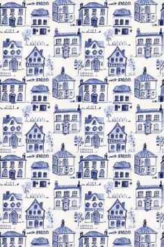 Maison Delft (F0592/03) - Clarke & Clarke Fabrics - An all over fabric design featuring various stylized houses. Shown here in delft blue on off white. Other colourways are available. Please request a sample for a true colour match.
