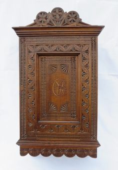 Antique Tramp Art Notch Carving Apothecary Wall Cabinet Initials CM German c1900 #BlackForestTrampArtCarving