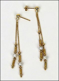 A PAIR OF CULTURED PEARL AND 18 KARAT YELLOW GOLD DROP EARRINGS. Lot 150-7179 #jewelry