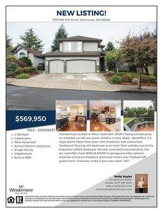 Just Listed! Real Estate for Sale: $569,950-4 Bd/2.1 Ba Pristine Two Story Lakeview Ridge Home + Den/Office on Manicured .21 Acre Cul-de-sac Lot at: 7913 NW 11th Ct, Vancouver, Clark County, WA! Area 41. Listing Broker: Molly Voyles (360) 689-2230, Windermere Stellar, Vancouver, WA!