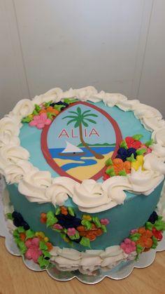Guam flag cake