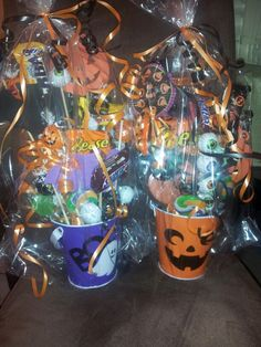Halloween Candy Bouquets by Memorably Sweet Arrangements. Facebook.com/MemorablySweetArrangementsandGifts
