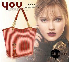 F-S-Stripe-Shoulder-Bag-Fashion-Women-Street-Snap-Candid-Hobo-Handbag-Tote-BB03
