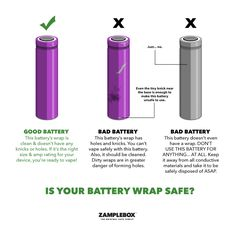 Compare a safe vaping battery to two unsafe vaping batteries.