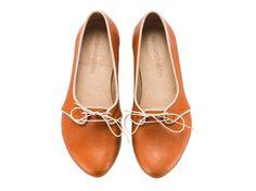 Alex Whiskey brown Flats Leather Shoes par TamarShalem