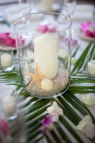 Easy and inexpensive - tropical centerpiece for an island themed party. The bright orchids and palm fronds bring the wow. Tropical Bridal Showers, Tropical Party, Tropical Centerpieces, Centerpiece Ideas, Island Theme, Luau Party, Deco Table, Island Weddings, Hawaii Wedding
