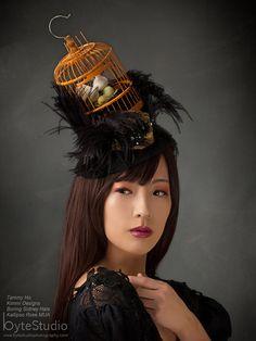 The Birdcage - Headdress - Headpiece - Birdcage Hat - Black Mini Top Hat- Birdcage