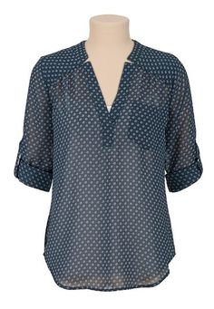 Flower print chiffon blouse (original price, $29) available at #Maurices
