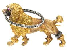 French 18k gold & diamond dog brooch