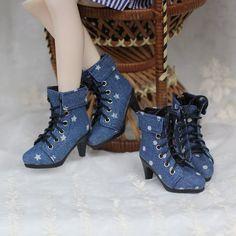 1/4 bjd doll shoes, jean boots , high-heel shoe for mdd minifee soom leeke lati