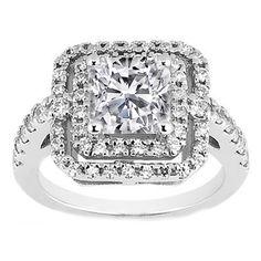 Cushion Diamond Petite Double Halo Engagement Ring