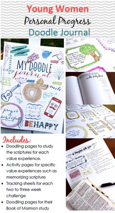 Our Doodle Journal is made to take a young woman all the way through receiving her LDS young woman's medallion.