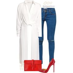 A fashion look from September 2015 featuring H&M tops, Christian Louboutin pumps and Hermès clutches. Browse and shop related looks.