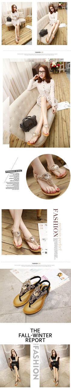 $18.84- Summer Ankle Wrap Flip Flop Sandal with Rhinestone Decorated #sandals #omgnb #shoesforgirls