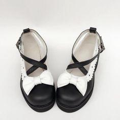 Черный X Белый Ремни Лолита Обувь На Каблуках