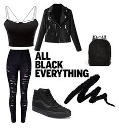 """""""Black."""" by kaiaskilton on Polyvore featuring WithChic, Vans, Puma and allblackoutfit"""