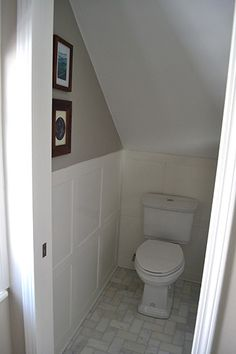 Half bathroom ideas and they're perfect for guests. They don't have to be as functional as the family bathrooms, so hope you enjoy these ideas. Update your bathroom decor quickly with these budget-friendly, charming half bathroom ideas Bathroom Under Stairs, Attic Bathroom, Attic Rooms, Attic Spaces, Family Bathroom, Basement Bathroom, Small Bathroom, Bathroom Ideas, Toilet Under Stairs