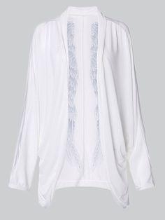 Women Loose Batwing Sleeve Wings Print Silk Long Cardigans
