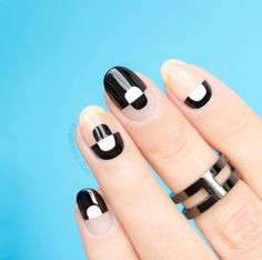 If you're a big fan of Negative Space nails, like I am, you will thoroughly enjoy our new nail art tutorial! This black and white Negative Space nail art. Black Nail Polish, Nail Polish Trends, Black Nails, White Nails, Nail Art Designs, Black Nail Designs, Nail Polish Designs, Design Art, Negative Space Nails