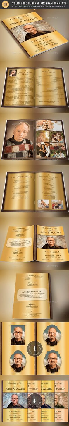 Solid Gold Funeral Program Template