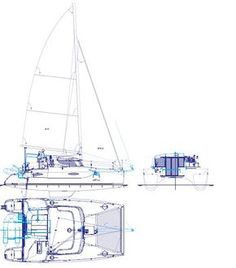 Fountaine Pajot Mahe 36 Technical Drawing showing standard layout of previous (2007) model. Options in light blue.