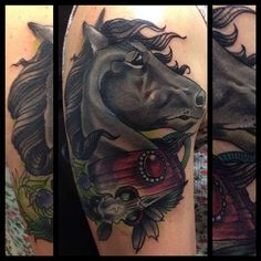 Horse upper arm tattoo by Gia Rose of AMP in Fishtown in Philly - horse and peacock skull My Horse, Horses, Upper Arm Tattoos, Power Animal, Beautiful Tattoos, Tattoo Designs, Tattoo Ideas, Arms, Skull