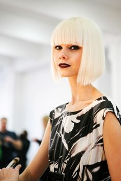 A platinum blunt bob from Alice + Olivia.