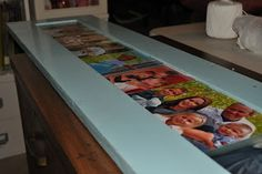 Step by step - turn a cabinet door into a long wall picture frame - LOVE this idea!