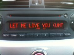 "When the radio plays ""Let Me Love You (Until you learn to love yourself)"" but can't fit it all on the screen…. via /r/funny."