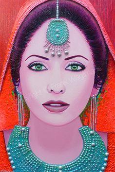 Moderne Schilderijen - Colorful painting Indian woman