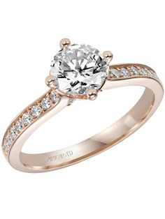 The Rose Gold Engagement Ring... The warm tones of rose gold look good on almost all skin tones. Engagement ring by ArtCarved Photo: Courtesy of the Manufacturer / The Knot